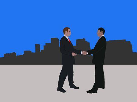 negotiator: business men meeting with handshake and Denver skyline