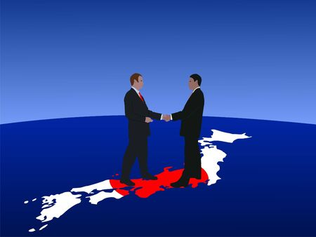Japanese business men meeting with handshake photo