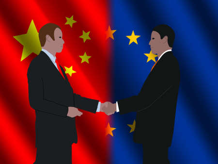truce: business men shaking hands over EU and Chinese flags illustration