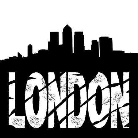 Docklands Skyline and grunge London text illustration  Stock Photo