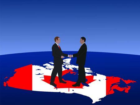 negotiator: Canada business men meeting with handshake illustration Stock Photo
