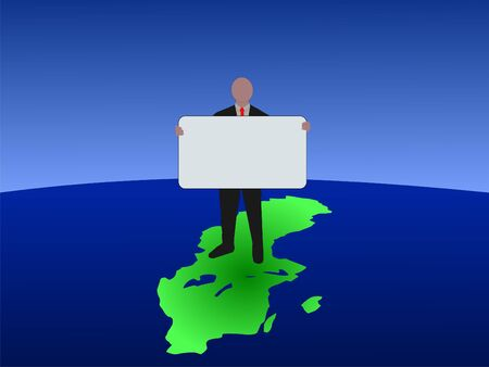 business man standing on map of Sweden with blank sign Stock Photo - 3791635
