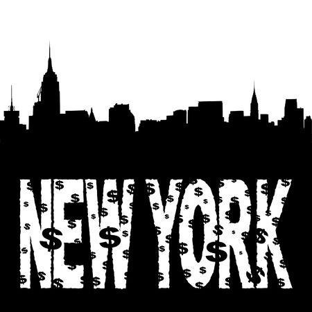 Midtown manhattan skyline with grunge New York text illustration