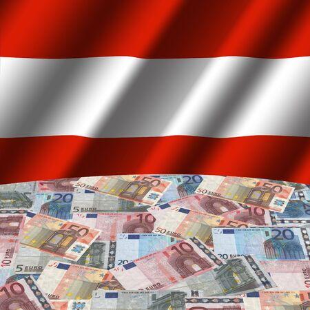 austrian: rippled Austrian flag with euros globe illustration
