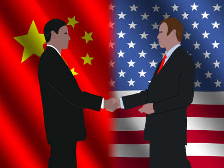business men shaking hands over Chinese and American flags illustration illustration