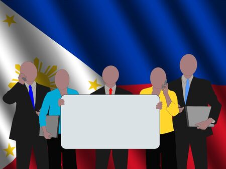 filipino: Filipino business team with rippled flag illustration