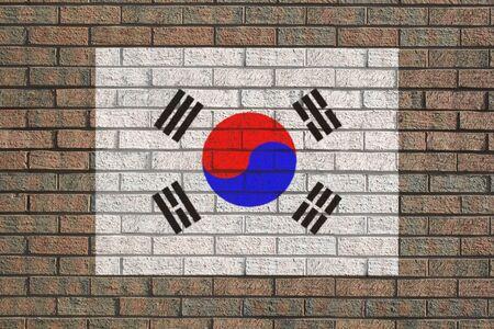 brick and mortar: Korean flag painted on brick wall illustration Stock Photo