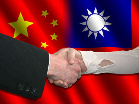 taiwanese: Handshake over Chinese and Taiwanese flags illustration Stock Photo