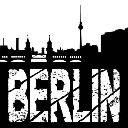 grunge Berlin text with skyline illustration illustration