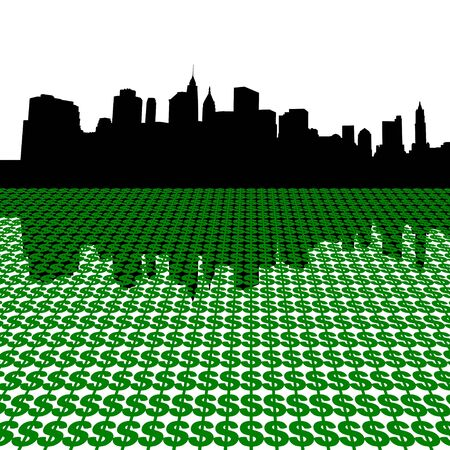 Lower Manhattan skyline with dollar symbols illustration illustration