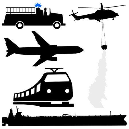 olietankschip brandweerauto helikopter vliegtuig en trein silhouetten