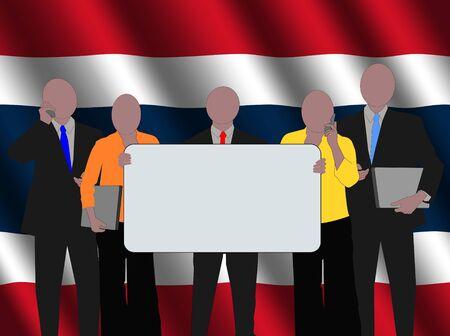 Thai business team with rippled flag illustration illustration