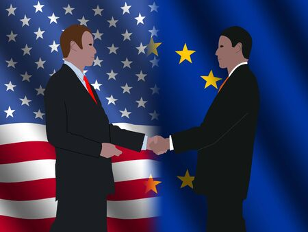 business men shaking hands over American and EU flags illustration illustration