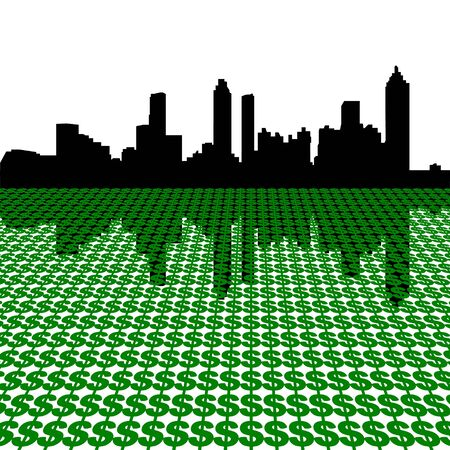 Atlanta Skyline with dollars illustration Stock Illustration - 3827103