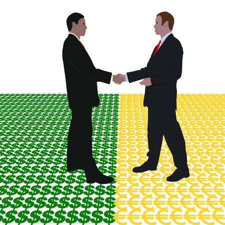 negotiator: business men meeting with dollar and euro symbol illustration Stock Photo