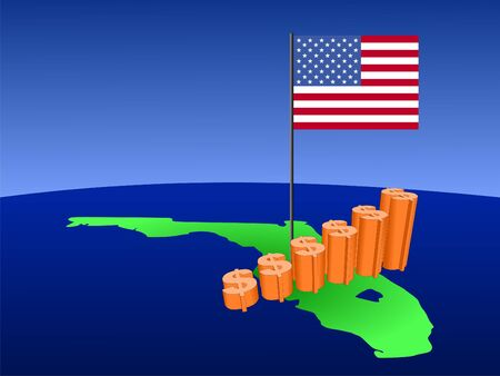 earnings: dollar graph on Florida map with flag illustration
