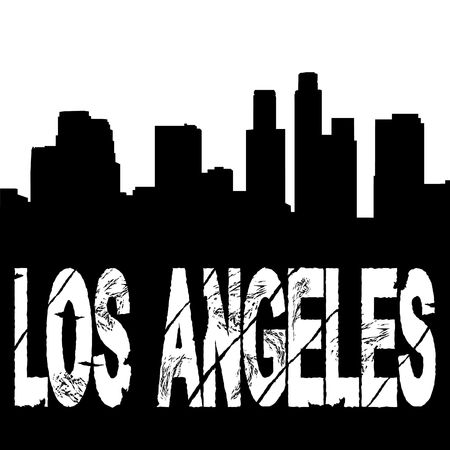 american cities: grunge Los Angeles text with skyline illustration