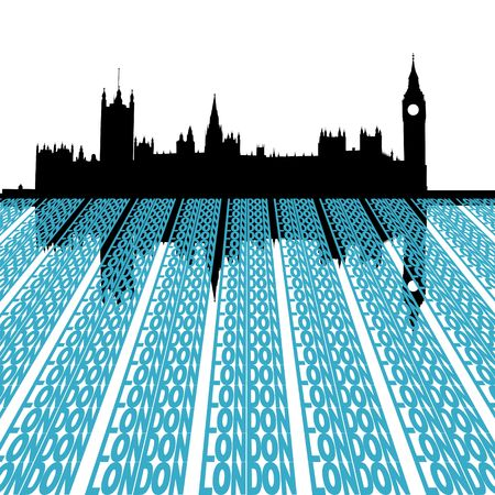 Houses of Parliament reflected with London text illustration illustration