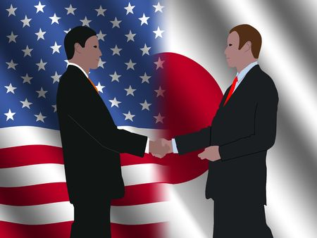 business men shaking hands over American and Japanese flags illustration Stock Illustration - 3837374