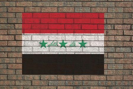 iraqi: Iraqi flag painted on brick wall illustration