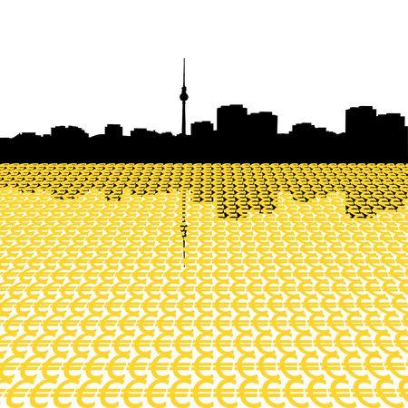 Berlin skyline with euro symbols illustration illustration