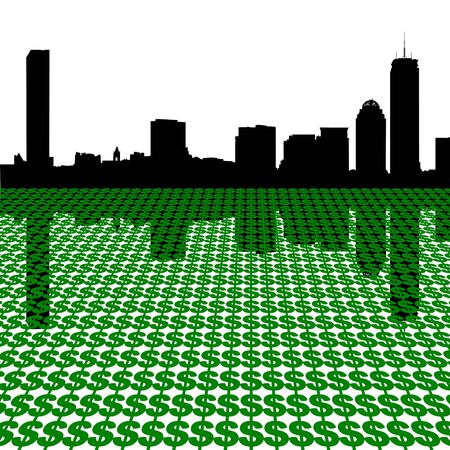 Boston skyline with dollars illustration illustration