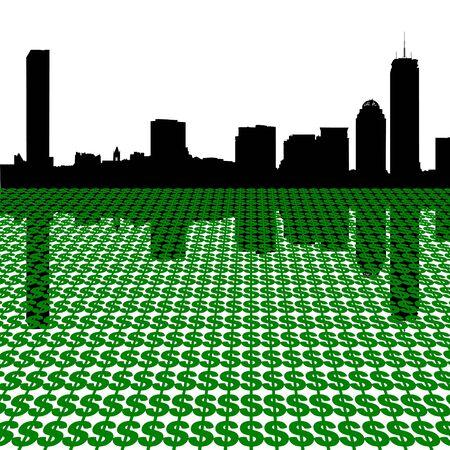 Boston skyline with dollars illustration Stock Illustration - 3849393