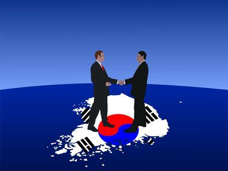 negotiator: South Korean business men meeting with handshake illustration