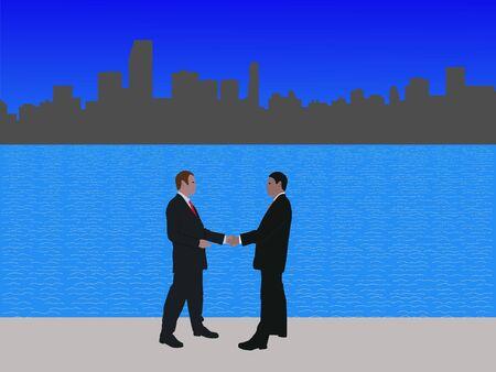 negotiator: business men meeting with handshake and Miami skyline