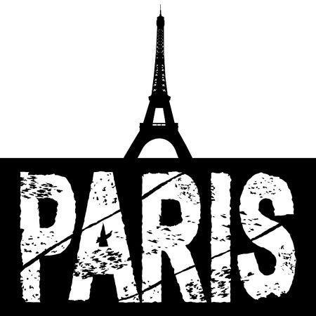grunge Paris text with eiffel tower illustration Stock Photo