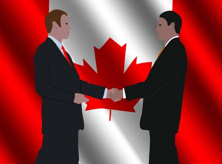 business men shaking hands with rippled Canadian flag illustration Stock Illustration - 3857779