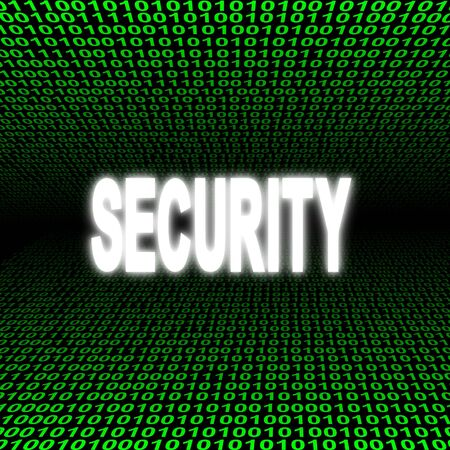 glowing Security text over green binary code Stock Photo - 3857785