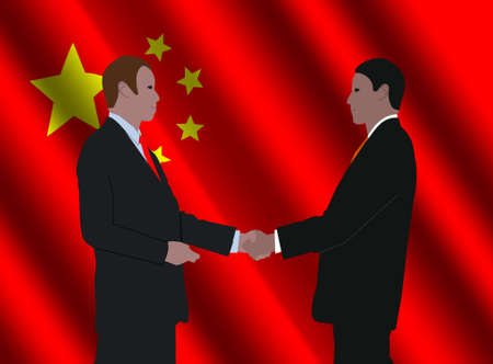 business men shaking hands with rippled Chinese flag illustration Stock Illustration - 3857789