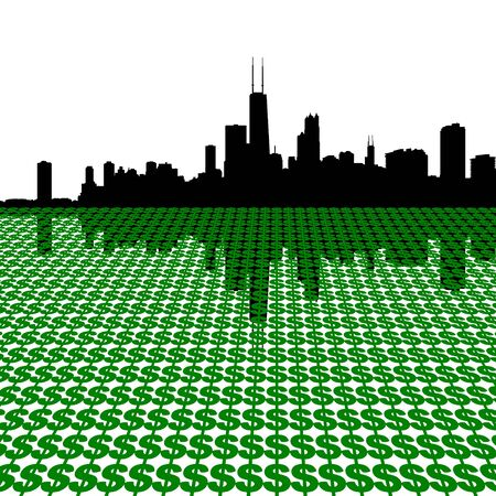 sears: Chicago Skyline with dollars illustration