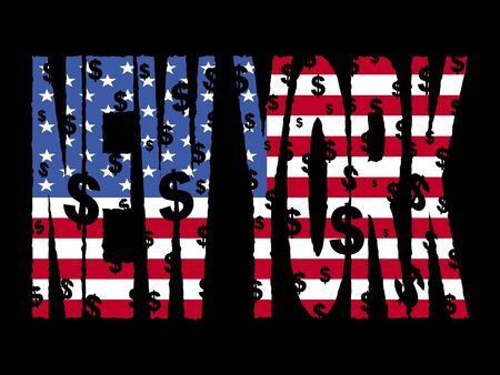 New York text with American flag illustration Stock Illustration - 3867215
