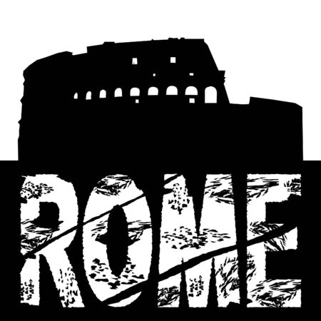 colloseum: grunge Rome text with Colosseum illustration