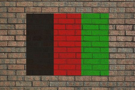 afghan flag: Afghan flag painted on brick wall illustration