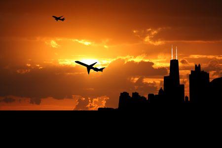 planes departing Chicago at sunset illustration illustration