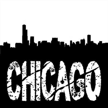 grunge Chicago text with skyline illustration illustration