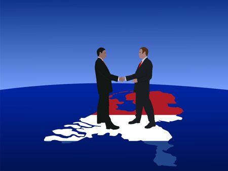 negotiator: Dutch business men meeting with handshake illustration Stock Photo