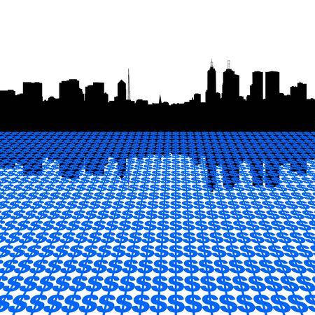 Melbourne Skyline with dollar symbols illustration illustration