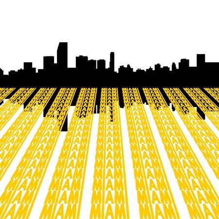 Miami Skyline reflected with text illustration illustration