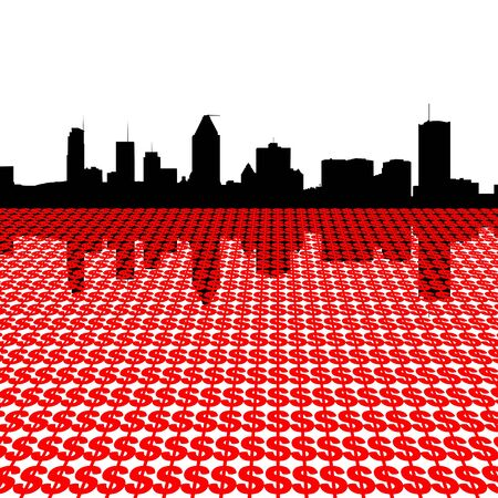 montreal: Montreal skyline with red dollar symbols illustration Stock Photo