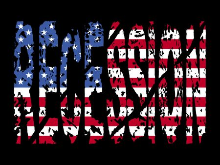 recession: grunge Recession  text with American flag illustration