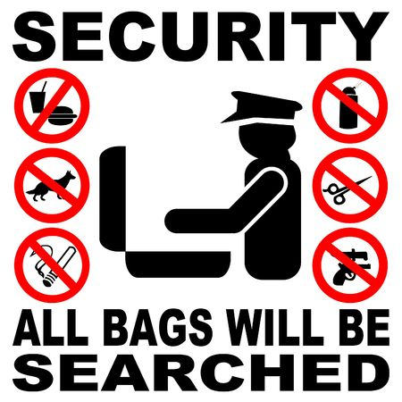 guards: Security all bags will be searched sign illustration Stock Photo