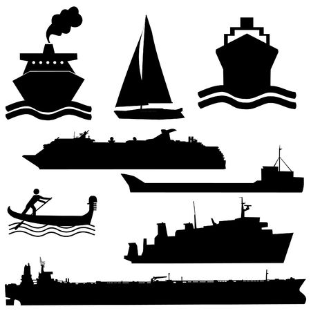 sea tanker ship: assorted boat silhouettes ferry tanker yacht and gondola