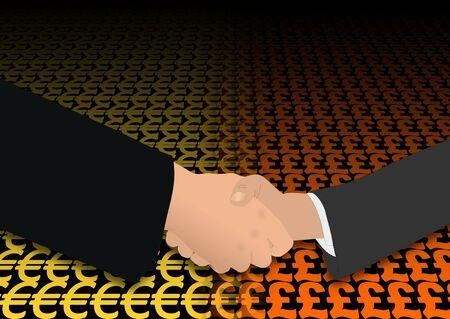 negotiator: business handshake over euro and pound symbols illustration