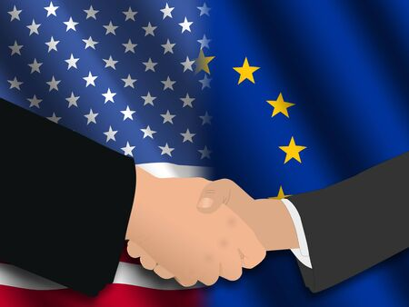 Handshake over American and EU flags illustration illustration
