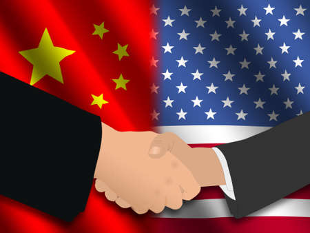 truce: Handshake over Chinese and American flags illustration Stock Photo