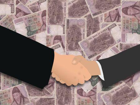 negotiator: business handshake on Korean won illustration Stock Photo